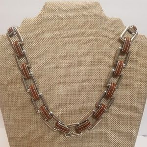 LRL Leather Silver Tone Link Choker Necklace